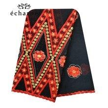 100% Cotton Scarf African Women Big Scarfs Muslim Women Embroidery Hijab Scarf Twill Design Headscarf EC123