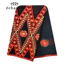 Foulard Hijab, foulard 100% en coton pour femmes africaines, foulard pour femmes musulmanes, brodé, Design sergé, couvre chef EC123