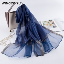 2019 Spring Summer New Women long silk Scarf men Scarves Shawls and Wraps pashmina dropshipping