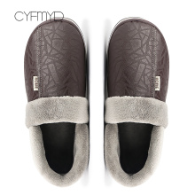 Home indoor slippers men 2019 fashion waterproof leather plus size 6-14 male winter zapatos de hombre