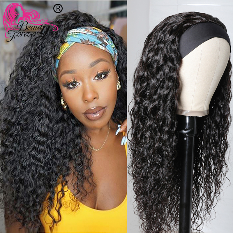 Beauté pour toujours sans colle vague deau bandeau perruques écharpe brésilienne perruque Remy perruques de cheveux humains pour les femmes débutant amical
