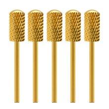 """MAOHANG brocas de carburo de oro para manicura y pedicura, 10 unids/lote, 3/32 """", herramienta para quitar Gel"""