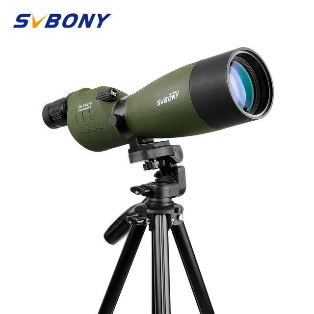 Svbony sv17 spotting escopo 25 75x70mm zoom nitrogênio 180 de para o alvo caça tiro com arco telescópio com longo 49 polegada tripé f9326g