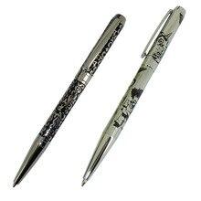 2 stücke Etch Logo Stift Einzigartige Design Messing Kugelschreiber Präge Muster Berühmte Branded Stifte für Einzelhandel Shop Stift & bleistift Lieferant