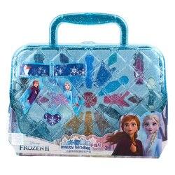 Meninas congelados 2 elsa e anna princesa bolsa conjunto de maquiagem disney crianças beleza fingir jogar brinquedo caixa presente