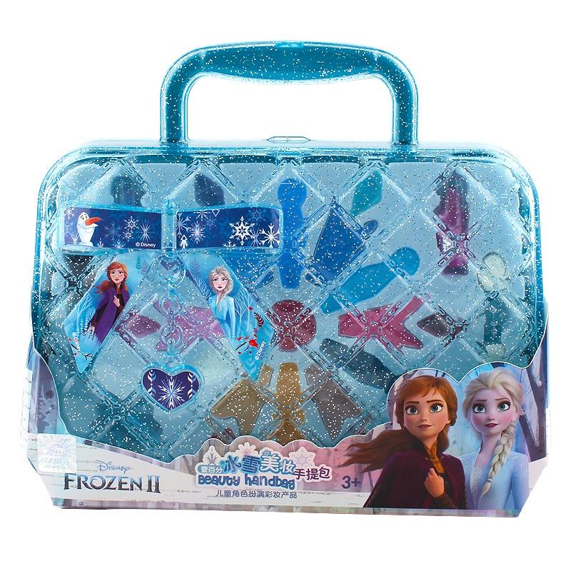 girls  frozen 2 elsa and anna princess handbag Makeup set Disney kids  Beauty pretend play toy Gift Box