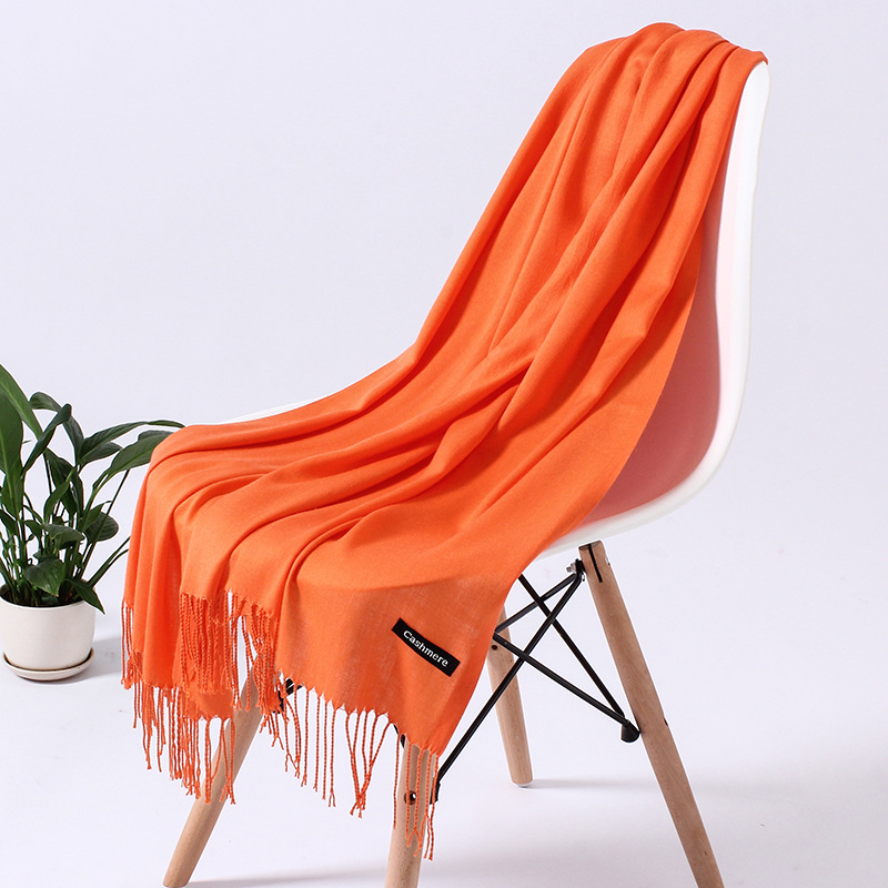 Однотонный кашемировый шарф для женщин новые длинные мягкие шали и палантины пашмины модные хиджаб с кисточками женские шейные шарфы - Цвет: 110g  orange yellow