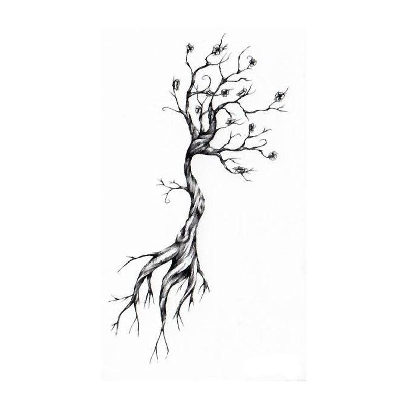 Водостойкая временная татуировка наклейка эскиз корня мертвых деревьев Татуировка ручная Татуировка тела вспышка fakeTattoo наклейка