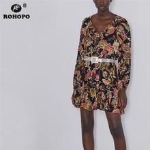 ROHOPO Long Sleeve Red Floral Black Straight Dress Vintage Round Collar Pleated Hem Printed Robe #9761