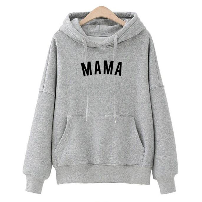 MAMA Hoodie Women's Long Sleeve Streetwear Sweatshirt Letter Print Shirts Sweatshirt Clothing Tracksuits Pullover Moletom Mujer