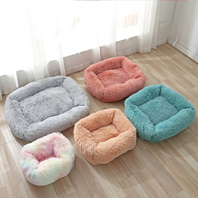 Plush Cat Bed House Warm Soft Square Cats Nest Winter Pet Cushion Mats For Small Dogs Cats Pet Basket Puppy Kennel Pets Supplies 5