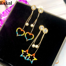 Exknl Gold Color Star Earrings Women Long Female Party Love Fashion Korean Drop Earrings Simulated Pearl Jewelry Earrings 2020 gold color with star hotpink butterfly star drop earrings