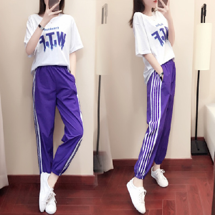 2020 Spring And Summer New Style Sports WOMEN'S Suit Loose-Fit Korean-style Fashion Sports Clothing Casual Two-Piece Set Elegant