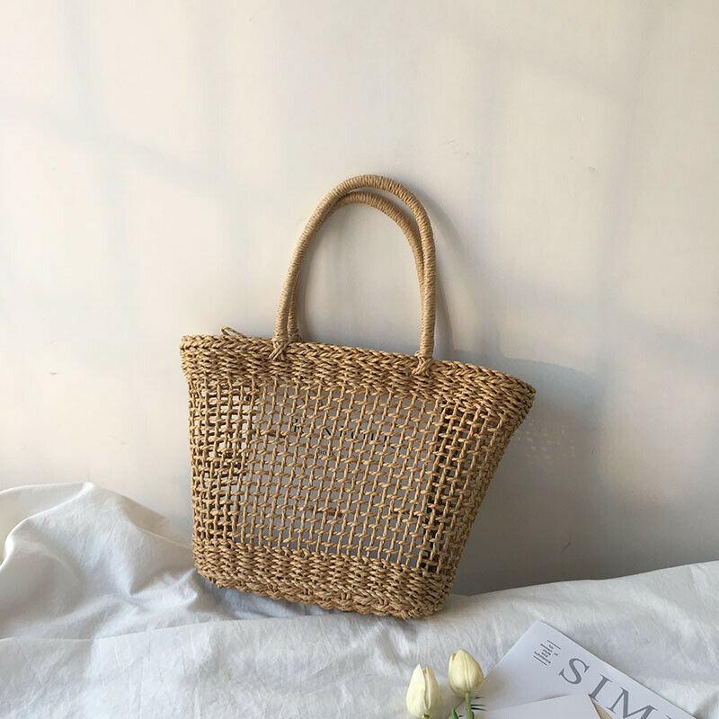 Ротанговая соломенная тканая сумка женская плетеная корзина Tote модная летняя пляжная большая сумочка - Цвет: Коричневый