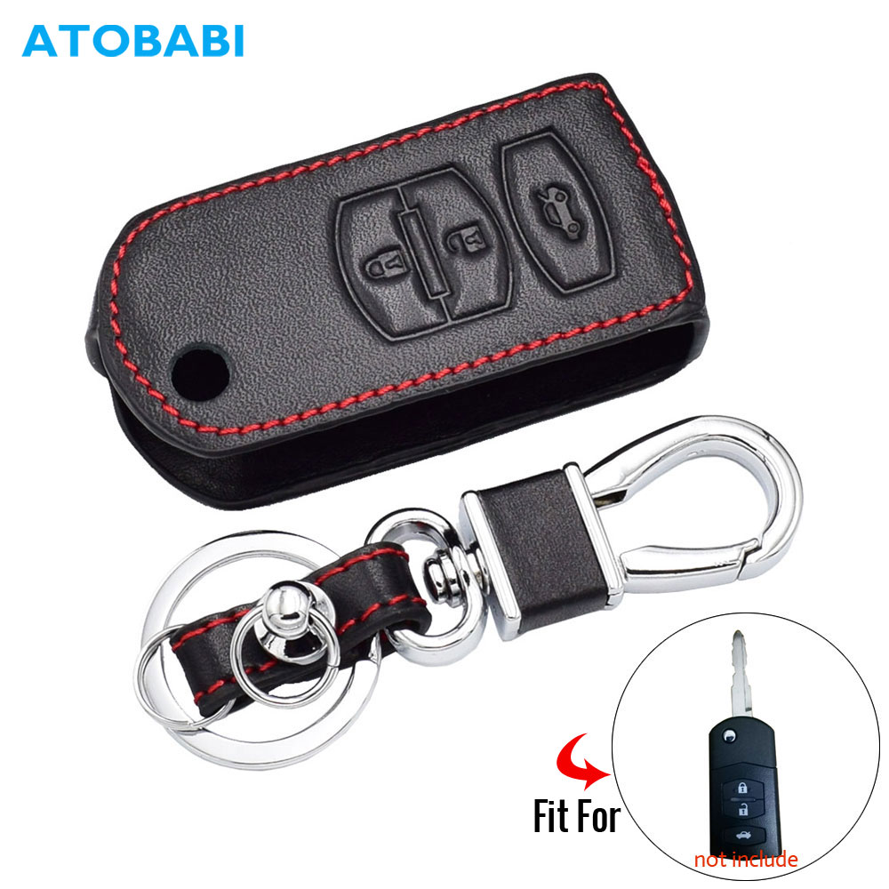 3 Buttons Leather Car Key Case For MAZDA 2 3 6 M2 M3 M5 M6 CX-5 Folding Remote Fob Cover Keychain Holder Bag Auto Accessories