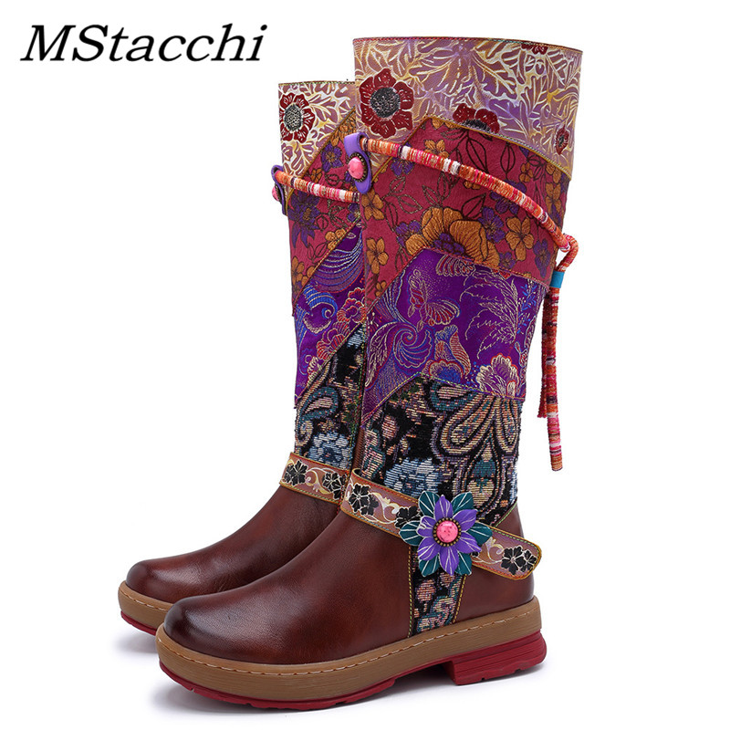 MStacchi Round Toe Real Leather Bohemian Flat Boots Lady New Chic Women Flowers Long Boots Patchwork Fringe Laces-Up Shoes Woman
