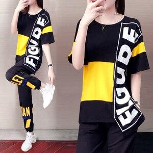 2020 explosão esportes terno feminino moda versão coreana de manga curta irregular camiseta de duas peças de verão