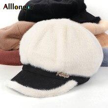 Осень, зимняя женская кепка Newsboy, casquette gavroche femme, искусственный мех кролика, плюшевая Корейская восьмиугольная бейсболка, берет для женщин