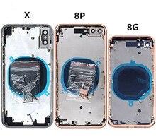 Iphone 11 プロマックス xs 最大 xs 8 7 6 バッテリー裏表紙ドア背面カバー + ミドルフレーム + sim トレイサイドキー部品ハウジングケース