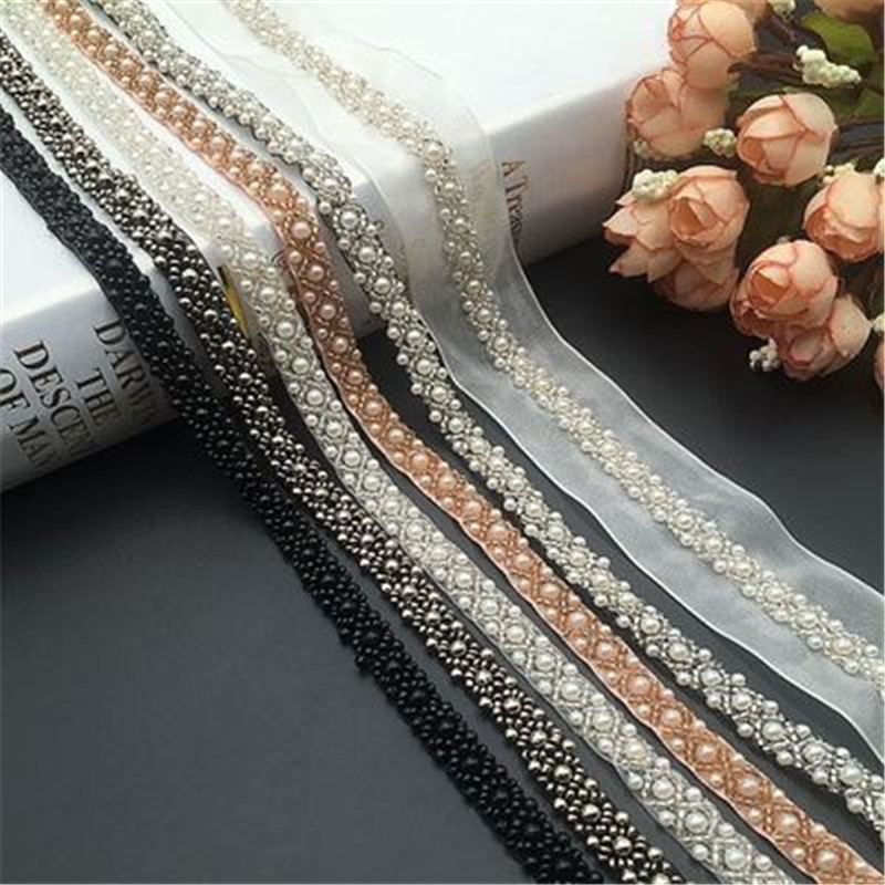 Pearl Beaded Lace Garment Accessories Beaded Bar Code Diy Heavy Handmade Clothes Decorative Accessories