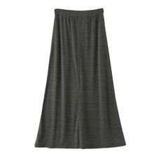 A-line Skirt Ankle-Length Loose Casual High Waist Womens Fashion Simple Solid Color Empire Waistline