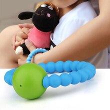 Детский прорезыватель, не содержит бисфенол, Успокаивающая Ювелирная игрушка для мальчиков и девочек,, пищевой силиконовый браслет с круглыми колокольчиками, жевательные бусины