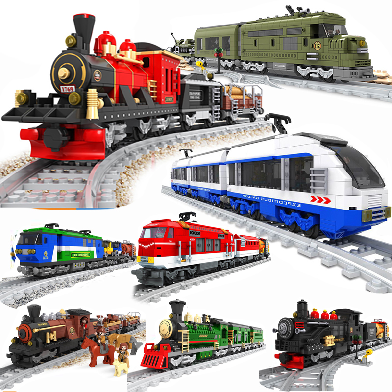 Ausini City Train Wagon Cargo Carriage Passenger Train Station Rail Tracks Locomotive Compatible Legoing Building Blocks Toys image