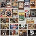Металлический знак Route 66, потертые шикарные металлические пластины для стен, домашнего творчества, кафе, музыкального бара, украшения гараж...