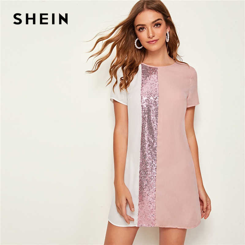 SHEIN Sequin Detail Colorblock Tunic Short Dress Women Keyhole Back Short Sleeve Round Neck Straight Loose Casual Dresses