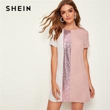 SHEIN スパンコール詳細カラーブロックチュニックドレス女性鍵穴バック半袖ラウンドネックストレートゆるいカジュアルなドレス