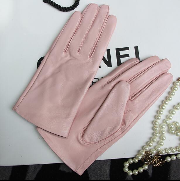 Women's Genuine Leather Brief Glove Lady's Warm Natural Sheepskin Leather Plus Size Fashion Slim Pink Driving Glove R2461