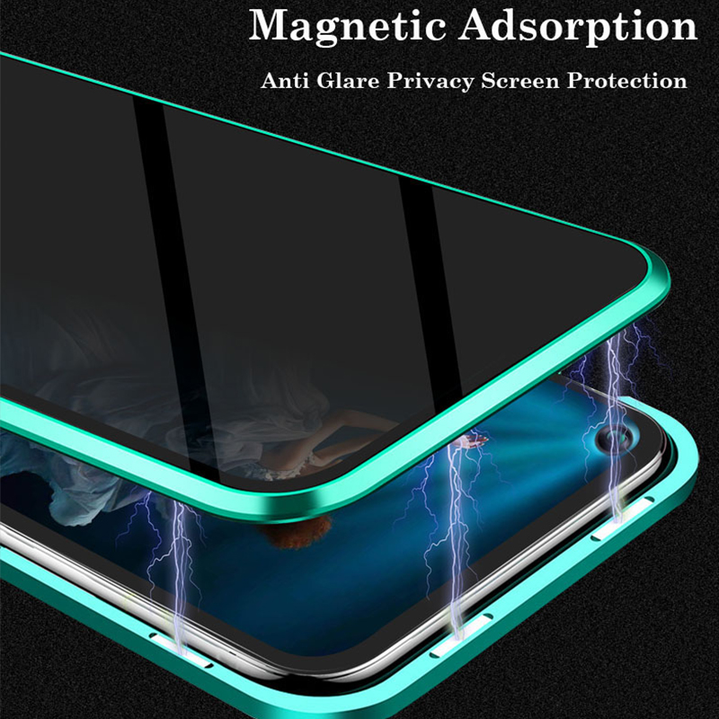 Anti Glare Privacy Magnetic Case For Huawei Honor 20 Pro 9X Double Sided Glass Cover Metal Bumper NOVA 5i 4 Phone