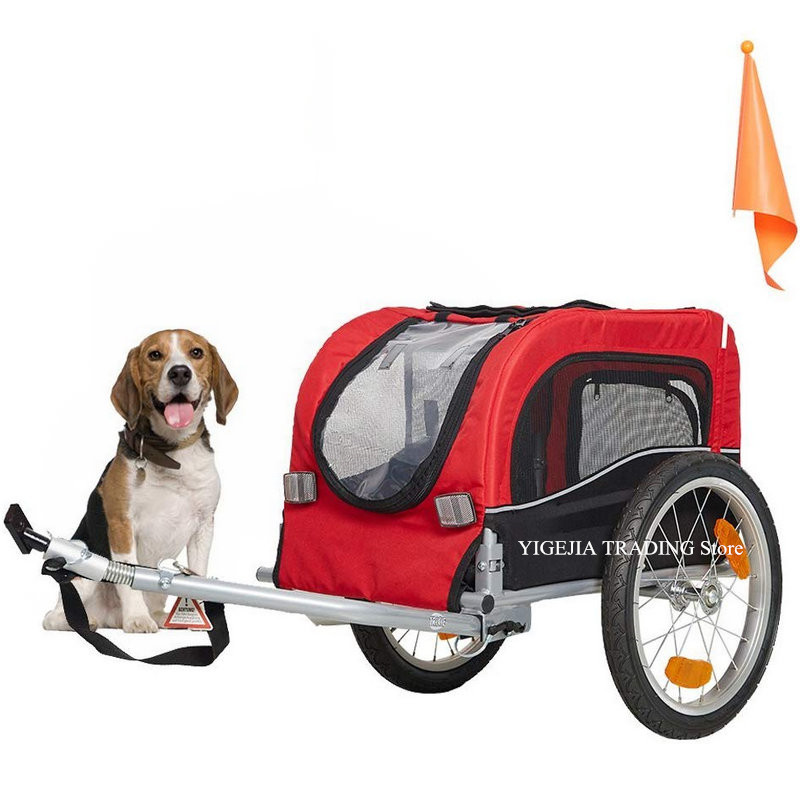16inch Air-filled Wheel Pet Bicycle Trailer For Small Dog And Cat With A Hitch Linker, Metal Frame Dog Carrier Suggest Load 20KG