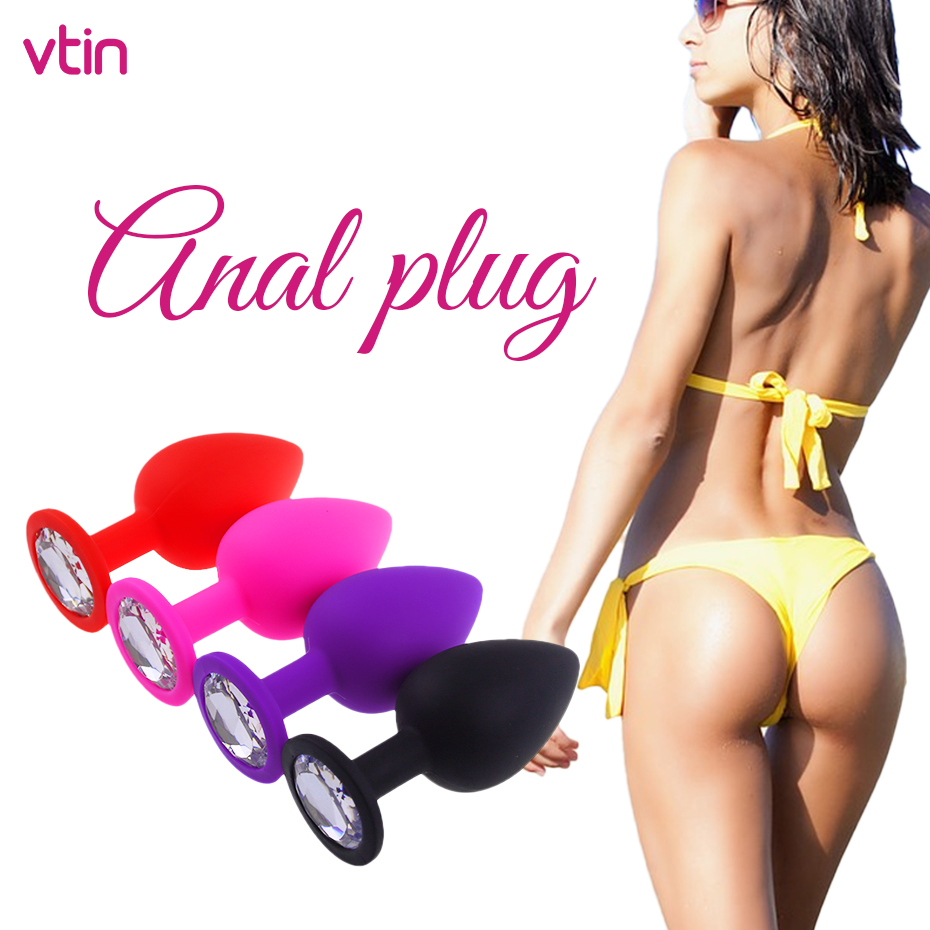 4 Color Butt Plug Anal Diamond Sex Shop With Vibrator For Women Gay Men Massage Ass Vaginal Night Masturbation