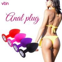 Brinquedo sexual com vibrador, 4 cores, plug anal, diamante, sex shop, para mulheres, homens gays, massagem no bumbum, masturbação noturna vaginal