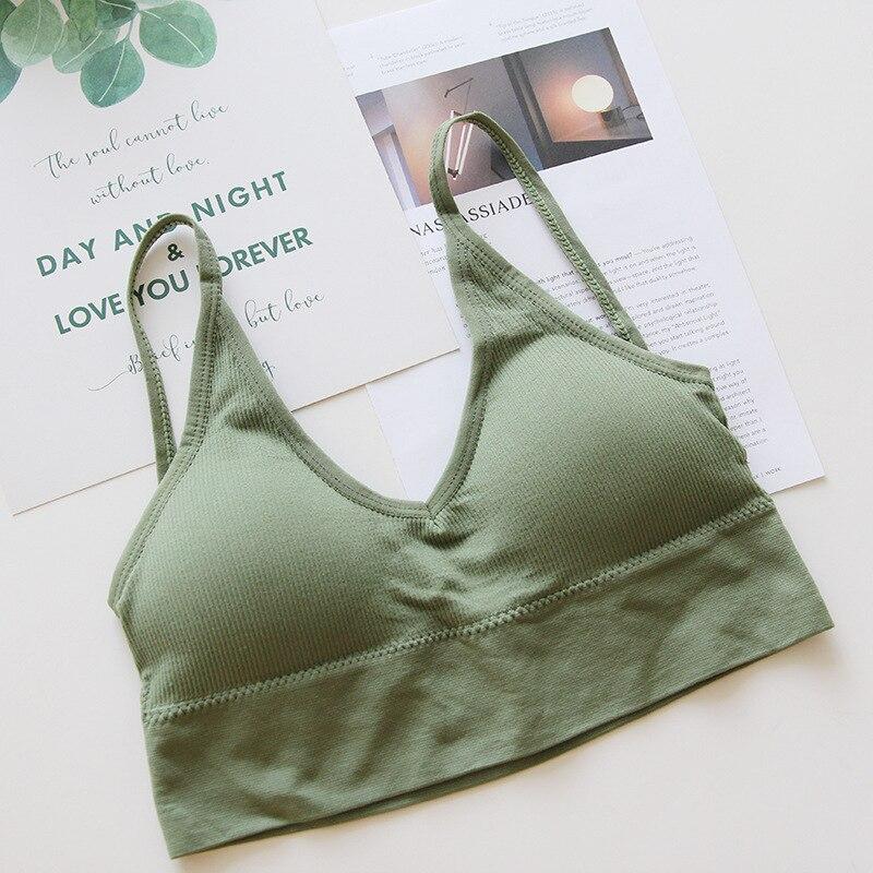Roseheart Women Fashion Green Skin Bralette Wireless Padded Girl Full Cup Stundent Maiden Bras Underwear Cup A B Female Bras in Bras from Underwear Sleepwears