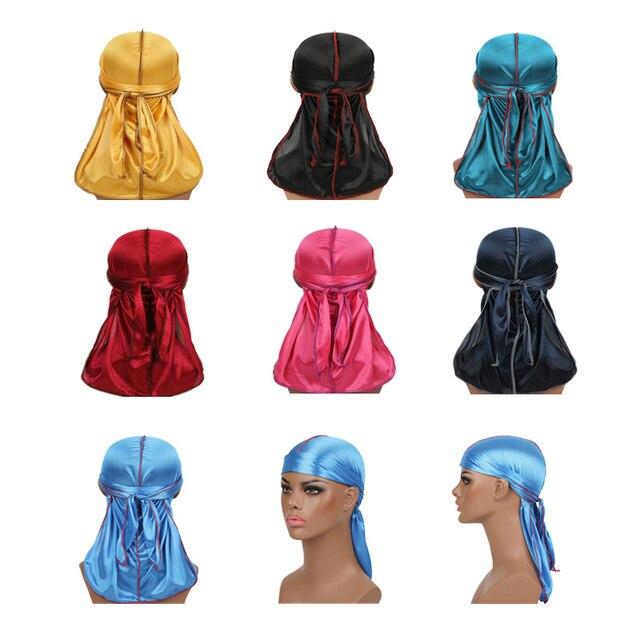 New Men's  Silky Durags Turban Bandanas Headwear Men Silk DuRag Doo Rag Pirate Hat Wave Caps Hair Accessories Durags  7 colors