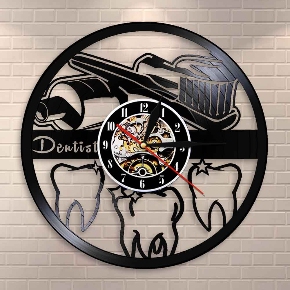 Toothbrush and Toothpaste Oral Hygiene Modern Bathroom Sign Wall Clock Dentist Vinyl Record Wall Clock Dental Nurse Dentist Gift(China)