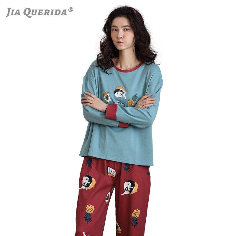 Pyjamas Women 100% Cotton Young Ladies Pajama Set Long Sleeved Pullover Smart Casual Home Clothing Plus Size 3xl Pijamas Women