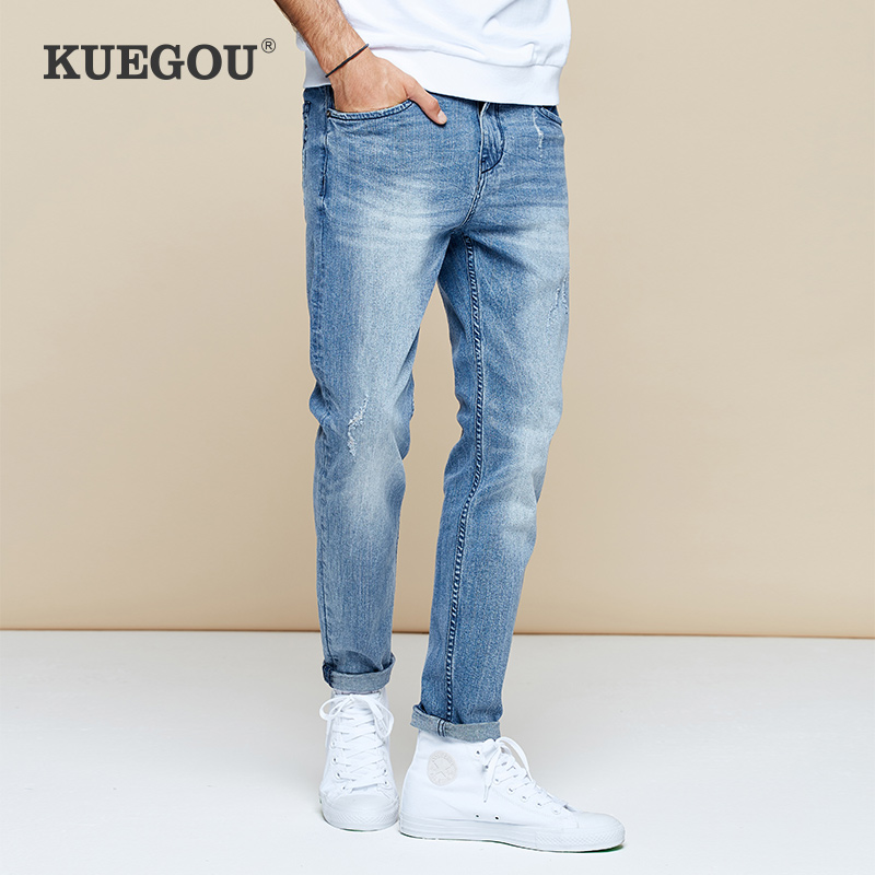 【Kuegou】Men's Jeans The Fashion Leisure Joker Jeans Men Handsome Blue Jeans The New 2020 Man Ripped Jeans KK-2960