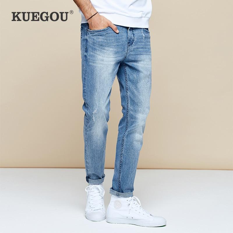 【Kuegou】Men's Jeans The Fashion Leisure Joker Jeans Men Handsome Blue Jeans The New 2020 Man Ripped Jeans KK-2960