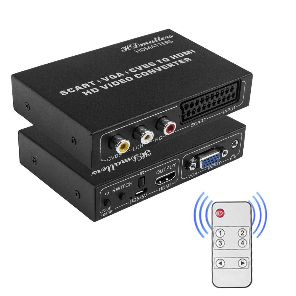 Переходник HDMI Scart, композитный конвертер AV VGA Scart в HDMI, переключатель HDMI на Scart VGA RCA, разветвитель, адаптер