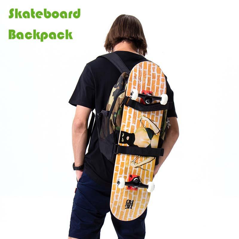 Men Women Adult Skateboard Backpack 24in Big Fish Skateboard Bag Adjustable Shoulder Strap Backpack Cruiser Big Fishboard Skate