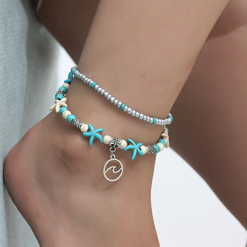 FUN-BEAUTY Women's Stainless Steel Conch Rice Beads Yoga Anklet Beach Starfish Pearl Retro Turtle Wave Handmade Foot Ornament