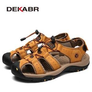 Image 2 - DEKABR جلد طبيعي الصنادل لينة في الهواء الطلق حذاء كاجوال الرجال العلامة التجارية الصيف الأحذية الجديدة كبيرة الحجم 38 48 رجل الموضة الصنادل