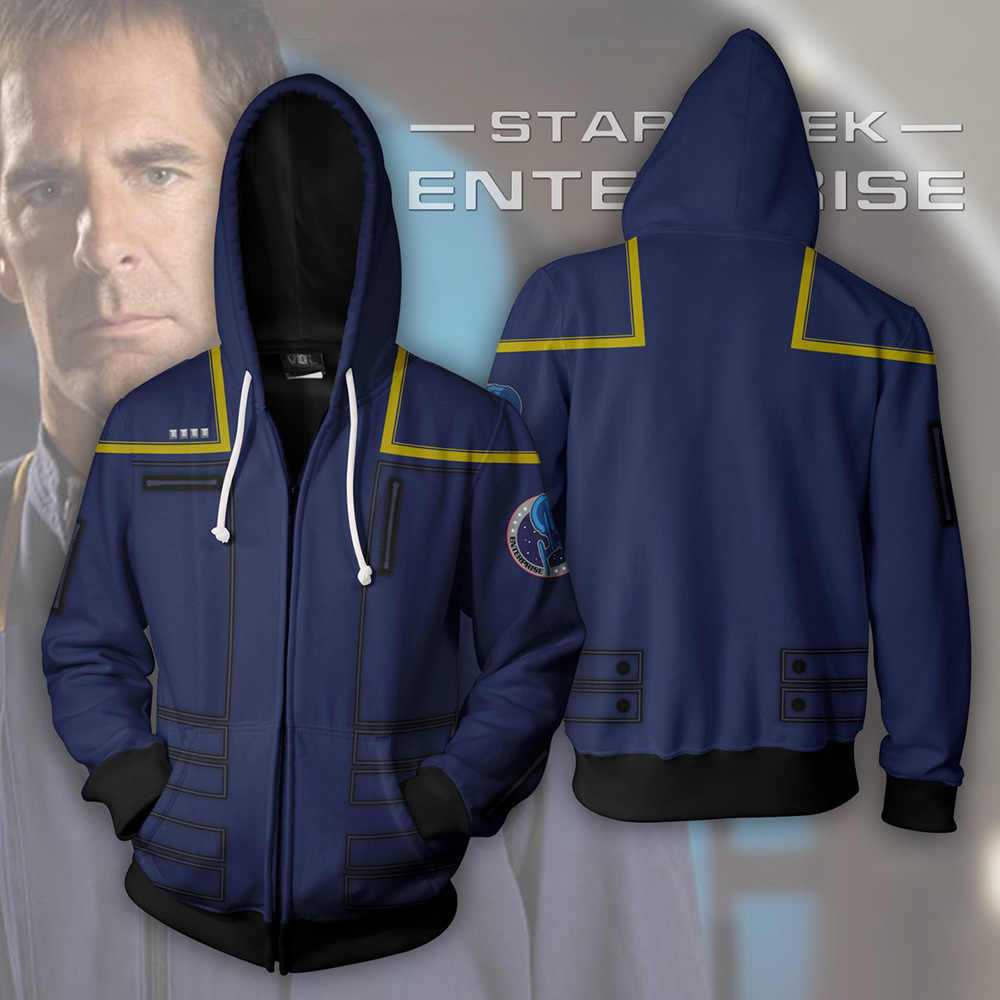 Buitenlandse Handel Hot Selling Star Trek 3d Zip Vest Hoodie Cosplay Anime Perifere Custom