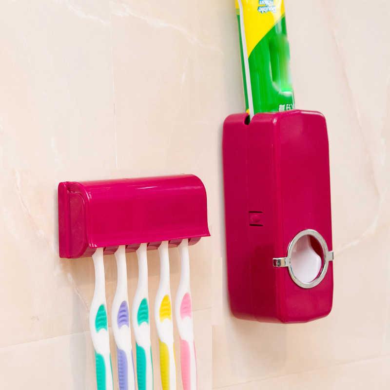 1 zestaw uchwyt na szczoteczkę do zębów automatyczny dozownik pasty do zębów + 5 uchwyt na szczoteczki do zębów szczoteczka do zębów stojak z uchwytem na ścianę narzędzia łazienkowe