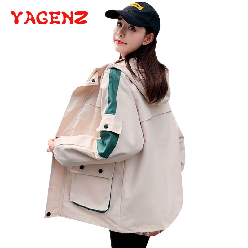 YAGENZ Women   Basic     Jackets   Female Zipper Pockets Casual Long Sleeves Plus size Coats Autumn Hooded   Jacket   Windbreaker   Jacket   443