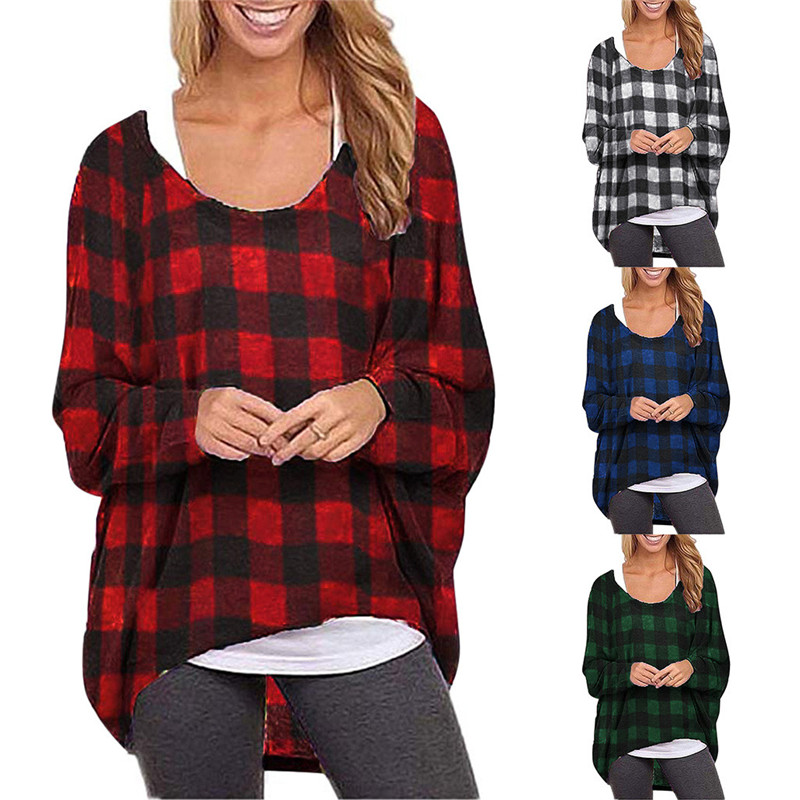 Artka Womens Novelty Plaid Hooded Pullover Blouse Top