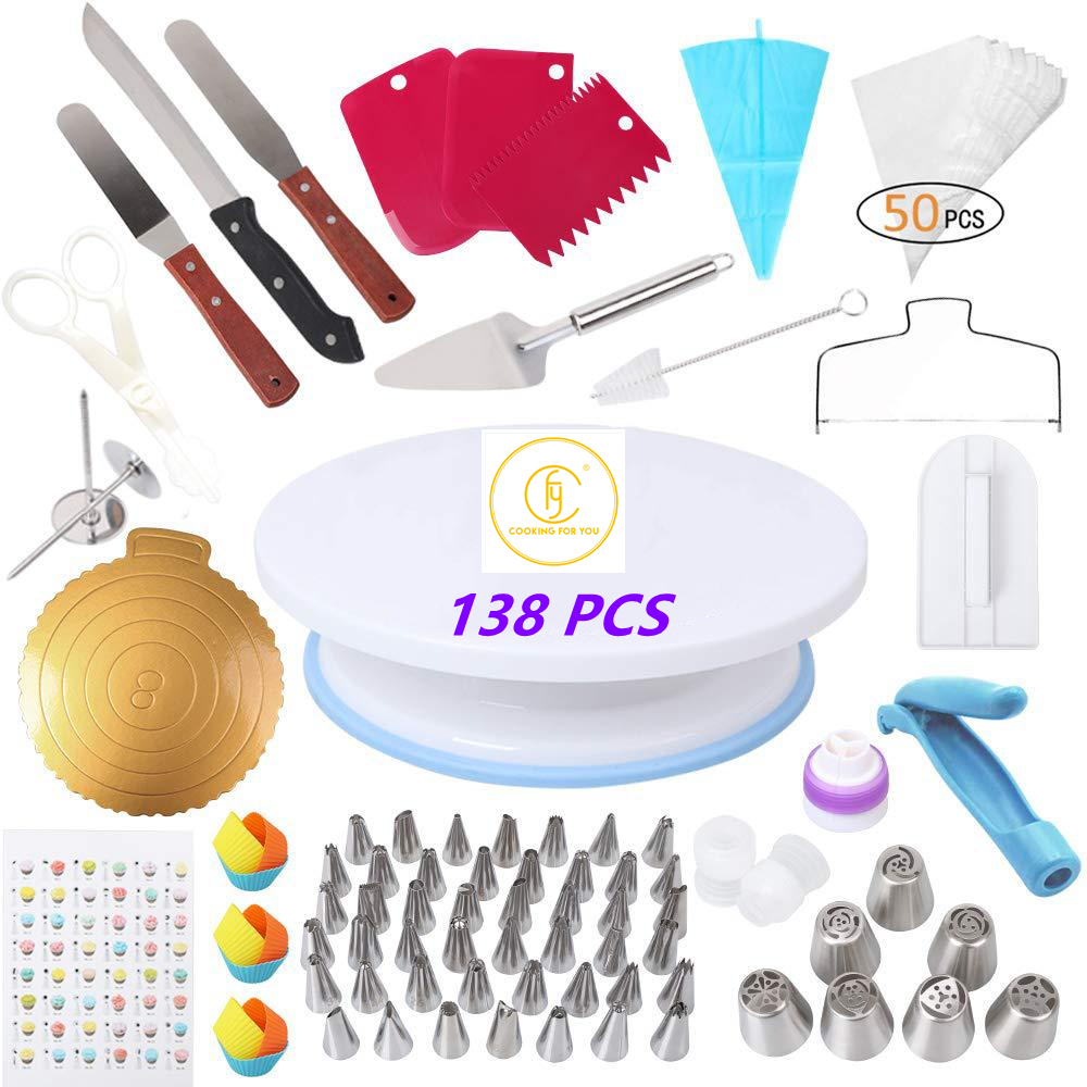 Cake Decorating Tools Turntable Pastry Bags Nozzle Bakware Baking Accessories Baking Tools Cake Baking Set Cake Turntable Set